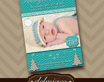 Christmas Mini Session Template - Photography Marketing - Chevron - Layered Photoshop Template - Photography Studio - INSTANT DOWNLOAD