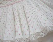 Vintage Infant, Baby Girl Pleated Summer Dress and Diaper Cover Size 12 Months Pink Rosebuds