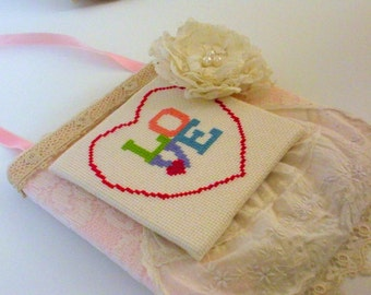 Shabby Chic Valentine Hanging Art, LOVE Cross Stitch Door Hanger