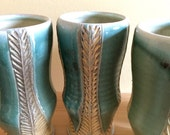Green and Yellow Carved Tumbler