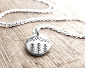 Tiny mountain necklace, forest nature wilderness trees hiking camping pendant necklace, coworker gift, gift for her, daughter gift