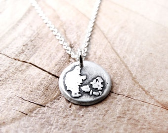 Tiny Denmark necklace silver map jewelry Kongeriget Danmark jewelry