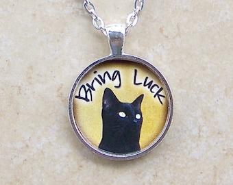 Good Fortune Black Cat Art Glass Pendant Good Luck Black Kitty Cat Necklace
