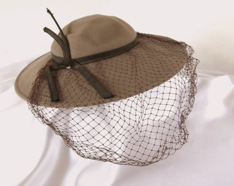 Vintage Wide Brimmed Brown Felt Hat with Birdcage Veil