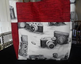 camaras vintage white red large tote bag/purse/diaper bag