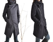 Black Swan - warm quilted asymmetrical cashmere wool coat / lined wool jacket cashmere / zipper thermo jacket (Y5130)