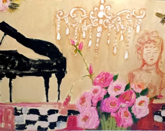 Piano painting, wood, acrylic, with Roses and Bust and Chandelier