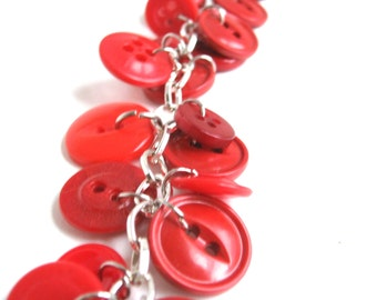 Red Button Bracelet Silver Chain