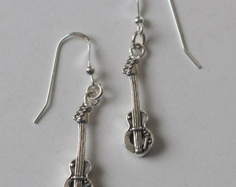 Sterling Silver 3D ELECTRIC GUITAR Earrings  - French Earwires - Musical Instrument, Musician