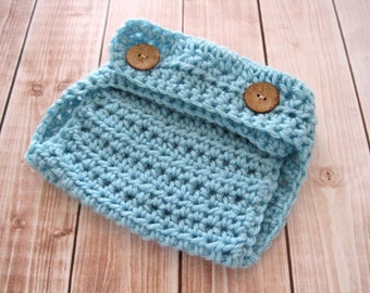 Crochet Newborn Boy Diaper Cover, Baby Photo Outfit, Blue Infant Soaker, Baby Boy Shower Gift,