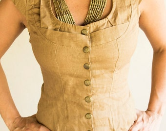 AMBER LINEN VEST - Long - Boho Steampunk Burning man Hippie Bohemian Tribal Plus size - Golden Brown