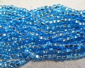 6/0 Aqua Silver Lined Genuine Czech Glass Preciosa Rocaille Seed Beads 13 grams