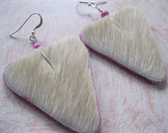 Hair on Leather Earrings - Off white hair on triangles with Hot Pink accents. Sterling Silver earwires