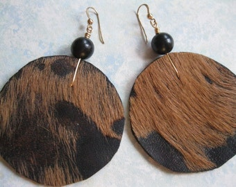 Hair on Leather Disk Earrings w/ an Ebony bead - Brown and Black with Black accents. 14kt Goldfilled  earwires
