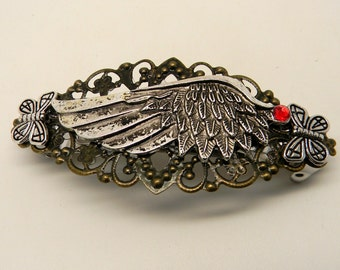 Steampunk jewelry Steampunk angle wing hair barrette.