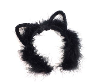 Black Cat Ears Headband, Halloween Costume Headband, Fuzzy Cat Ears, Cat Costume Ears, Girls Teen Adult Cat Ears, Black Cat Costume Headband