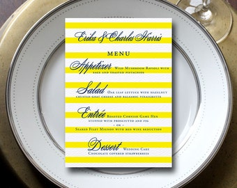 Stripe Wedding Menu, Preppy Wedding Menu, Navy & Yellow Wedding Menu {set of 25}