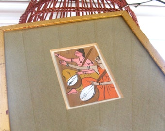 Vintage Framed Painting of Ethnic Eastern Musicians Tanboor Tanbour Ancient Musical Instrument