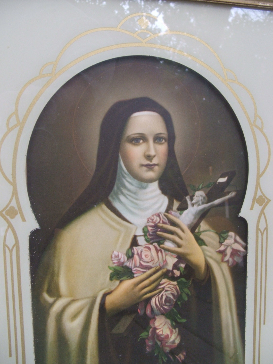 Antique Framed Saint Theresa St Therese of Lisieux The