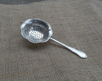 Antique Silver Tea Strainer Berkley Hotel Silver Plate Sugar Sifter French Country Cottage Chic Prairie