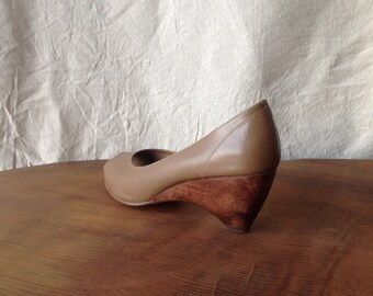 Vintage Taupe Leather Architectural Wedges.