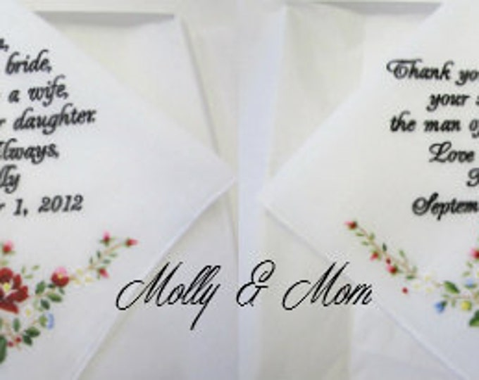 Two Wedding Handkerchiefs Personalized for Mother of the Bride and Mother of the Groom with Rose Detail