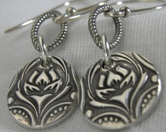 Sterling Silver Nouveau Fouquet Coin Earrings PMC