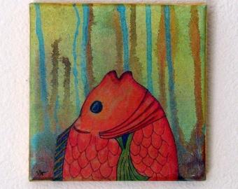 breathe - original mixed media fish art by Tremundo SALE