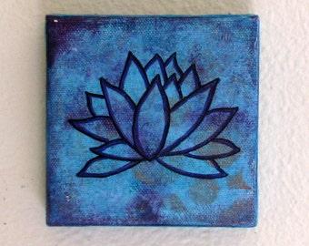 lotus mixed media painting art in blue -lotus 5- by tremundo