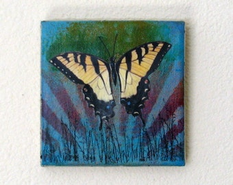 swallowtail butterfly mixed media painting art - rise -  by tremundo