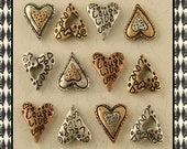 "2 Hole Beads Mini Hearts ""Live Laugh Love"" Engraved & Filigree 3T Metal ~ Sliders ~ QTY 12"
