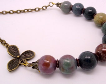 Jasper Necklace, Green Necklace, Orchid Flower Necklace