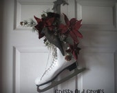 Ice Skate with Poinsettias Door Decor