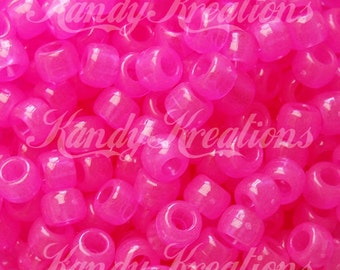 100 Hot Pink Glow In The Dark Plastic Pony Beads 6x9mm for kandi raver bracelets hair braids crafts scouts Vbs earrings Crafts Kids Pop