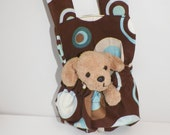 Blue and Brown Big Dots and Circles with Tan Pup Stuffed Animal Carrier Great Gift for Kids Snack Water Bottle Carrier Too