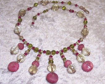 LAKSHMI - OOAK Necklace in Ruby, Peridot, Citrine, Swarovski and Sterling Silver