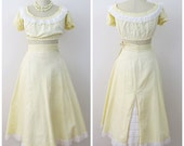 40s Yellow Eyelet Lace Crop Top and Matching Skirt, Size XS, AS IS