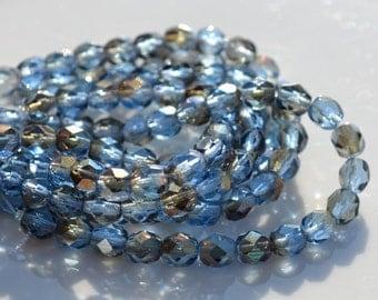 Sapphire Blue Twilight 6mm Round FIre Polish Beads  25