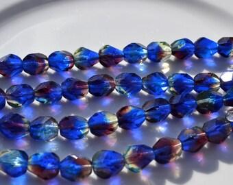 Cobalt Blue and Dark Purple 10mm Nugget Czech Glass Beads  25