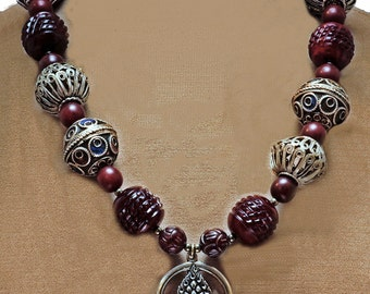 Nepali Jewel in the Lotus Pendant w/African Beads