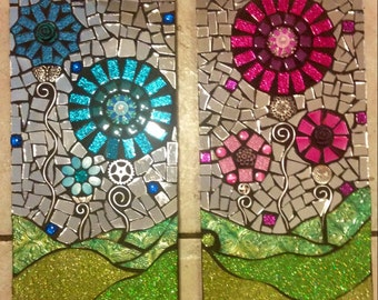 Two piece Stained Glass Mosaic Wall Hanging