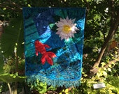 Art Quilt Fish Pond Quilted Wall Hanging