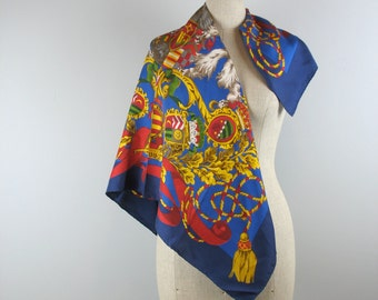 90s Gianfranco Ferre Silk Scarf in an heraldic theme with lions