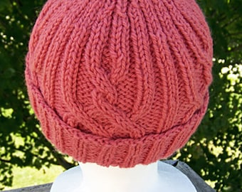 Handknit Hat in  a lovely coral Alpaca Wool