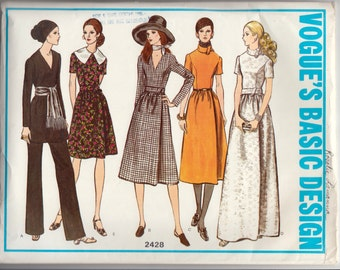 "1970's Vintage Sewing Pattern Vogue 2428 Basic Dress and Pants Size 12 34"" Bust - Free Pattern Grading E-book Included"