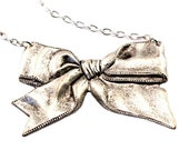 Bow Necklace Classic Bow Pendant Silver plate Neo Victorian Style Steampunk Jewelry Designed by London Particulars