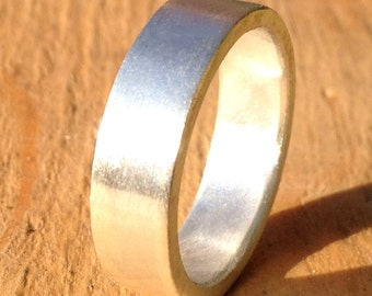 Brushed Mens Silver Wedding Band 6mm wide, Recycled Sterling Silver Mens Ring, Brushed Wedding Band, 2mm Thickness Simple Wedding Band