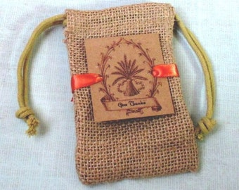 Burlap favor bags - Thanksgiving favor bags - Wheat - Give Thanks - Set of 10