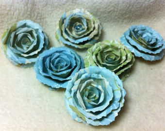 Scrapbook Flowers...6 Piece Set of Very Pretty Miracle Scrapbook Paper Flower Rolled Roses