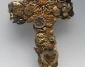 Cross Assemblage Gold Vintage Jewlery Sculpture MOP Rhinestones